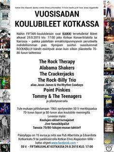 """HEITÄ KÄVELYKEPIT SIVUUN JA TULE VUOSISADAN BILEISIIN:  Tervetuloa KAIKKI 70-80 luvun """"fiftarihenkiset"""" rokkarit, diinarit, Teddyt ja muut juhlimaan.  Aika on 29.8.2015 klo. 17.00   LAVALLA LEGENDAARISET KYMIJOEN SUISTON ROCKABILLY-BÄNDIT: The Rock Therapy Alabama Shakers The Crackerjacks The Rock-Billy Trio (alias Jesse James & the Rhythm Cowboys) Point Pinkies Tommy & The Teenagers + yllätyksiä"""