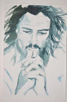 Un altro dipinto realizzato da me! Un uomo che riflette in tonalità monocromatica! www.Etsy.com