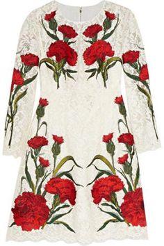 Embroidered lace mini dress #embroideddress #women #covetme #Dolce & Gabbana