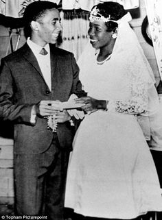 Bob Marley and wife Rita Anderson on their wedding day in 1966