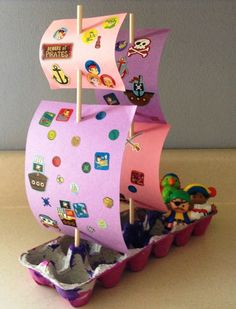 Have fun with the kids this week upcycling an old EGG CARTON into a pirate ship! All you need is an empty egg carton box for the hull, a pair of chopsticks/wooden skewers for the masts & paper for the sails. Plus lots of stickers, paints & crayons for decorating. Check out these other activities too: http://tinyurl.com/ootmyn7