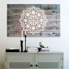 mandala stencil on reclaimed wood