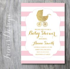Glitter Gold Strolled Carriage Baby girl shower by irinisdesign
