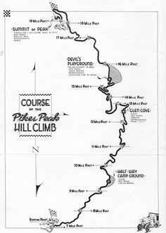 The course map for the 1941 Pikes Peak Hill Climb race