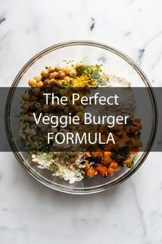 Perfect Veggie Burger Formula Learn how to use the ingredients you already have on hand to make the best ever veggie burgers.Learn how to use the ingredients you already have on hand to make the best ever veggie burgers. Vegetarian Recipes Easy, Veggie Recipes, Vegan Vegetarian, Whole Food Recipes, Cooking Recipes, Healthy Recipes, Vegetarian Burgers, Yummy Veggie, Veggie Meals