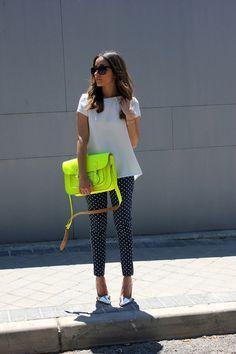 neon bag, metallic heels, print pants | StyleCaster