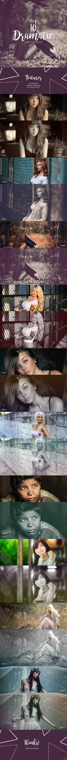 10 #Dramatic #HDR - Action - Photo Effects #Actions #PSAction #Photoshop #PS #Graphicriver #PhotoEffects