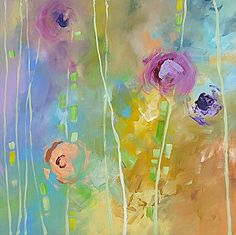 Original Floral Painting Abstract Art Garden by lindamonfort, $195.00