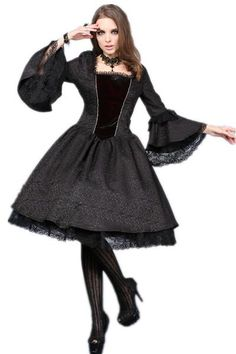 b561d493ddcf Custom made link of DW053BK Gothic Gothic ghost lace cocktail dress with  button row