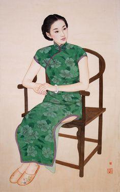 Huixuan Zhao - Seated Woman in Green Lion Illustration, Portrait Illustration, Illustration Fashion, Art Illustrations, Chinese Painting, Chinese Art, Chinese Style, Female Portrait, Female Art