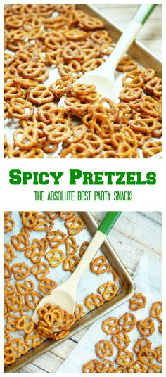 Party Pretzels Spicy Party Pretzels, A mixture of ranch, garlic powder, and cayenne powder make the most delicious party snack! Snack Mix Recipes, Yummy Snacks, Appetizer Recipes, Cooking Recipes, Yummy Food, Snack Mixes, Savory Snacks, Yummy Appetizers, Spicy Pretzels