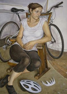 "Michael Taylor (British, born 1952) ""Seated Figure with Cycle Helmet"""