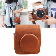 Brown PU Leather Shoulder Strap Case Bag For Fujifilm Instax Mini 70 Camera