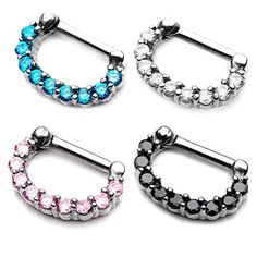bOdfx Septum Jewelry, Clicker nose Ring 4 Pack. Assorted Colors. 16 Gauge (16g)