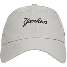 940 Script Slogan Cap by New Era (425 MXN) ❤ liked on Polyvore featuring accessories, hats, grey, ny yankees hat, new york yankees hat, grey hat, new york yankees cap and cap hats