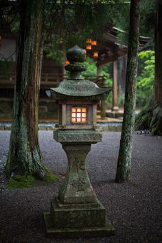 "quiet-nymph: "" Lantern In The Gloom by "" Japanese Garden Lanterns, Japanese Stone Lanterns, Japanese Garden Design, Japanese Landscape, Japanese Architecture, Japanese Art, Japan Garden, Garden Inspiration, Bonsai"