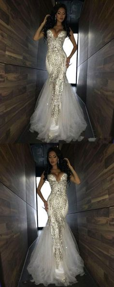 Luxury Bling Sparkle Prom Dresses Mermaid White Deep V-neck Beaded Crystal Long Tulle Prom Dress Evening Gown M0273#prom #promdress #promdresses #longpromdress #promgowns #promgown #2018style #newfashion #newstyles #2018newprom#eveninggowns#mermaidpromdress#whiteprom#beadedcrystal#deepvneck