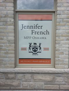 Another set of digital print perforated vinyl window graphics installed today, completed a few minutes ago - this time at the office of Jennifer French, MPP Oshawa. www.SpeedproDurham.ca #busybeesatSpeedpro