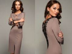 Платье с кружевом на спине купить, Бежевое короткое платье фото