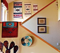 southwestern decor on contemporary stairs