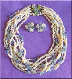 Fabulous VENDOME 9 Strand Blue Aurora Crystal & Pearlescent Glass from jewelpigs on Ruby Lane