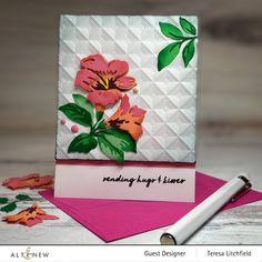 Folder Image, Altenew Cards, Sending Hugs, Embossed Cards, Embossing Folder, Flower Cards, How To Introduce Yourself, Cardmaking, Tea Party
