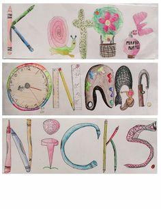 Ideas elementary art ideas for kids middle school Name Art Projects, Classroom Art Projects, Art Classroom, Middle School Art Projects, Art School, High School, Classe D'art, 7th Grade Art, Art Lessons Elementary