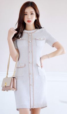 StyleOnme_Luxury Tweed Dress #tweed #elegant #dress #feminine #koreanfashion #kstyle #kfashion #springtrend #dailylook