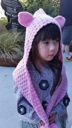 Discover Me : Lumic Fun Crochet Hats : Crochet Pink Cat hood with Scarf