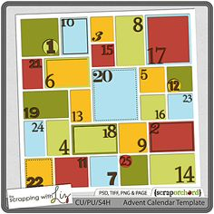 Advent Calendar Template by Scrapping with Liz