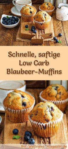 Rezept für saftige Low Carb Blaubeer-Muffins: Der kohlenhydratarme, kalorienreduzierte Kuchen wird ohne Zucker und Getreidemehl zubereitet ... #lowcarb #Kuchen #backen
