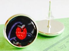 Liberty Tana Lawn Silver Plated Stud Earrings by indigostitch, £8.00