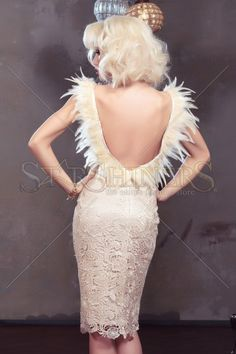 Rochie LaDonna Exquisite Feather Cream