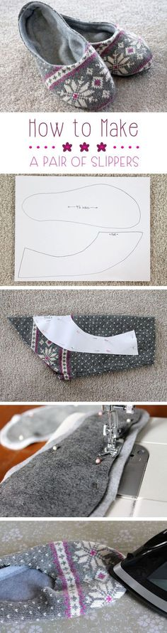 How to make Slippers: Upcycling has quickly become on our favorites things to do! Transform an old sweater or sweatshirt into these lovely, cozy slippers for around the house. (How To Make Christmas Snowflakes) Easy Sewing Projects, Sewing Hacks, Sewing Tutorials, Sewing Crafts, Sewing Patterns, Sewing Tips, Diy Crafts, Sewing Basics, Sewing Art