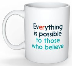 Gernius mugs feature positive affirmations and beliefs so when you're having your early morning brew one of the first things you see is something positive and uplifting. Everything Is Possible, Positive Affirmations, Coffee Cups, How To Get, Tools, Mugs, Calm, Shop, Coffee Mugs