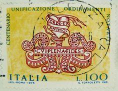 stamp Italy timbre Italie 100 Lire postage Centenario Unificazione Ordinamenti Notarili selo sello Italia francobolli почтовая марка Италия pullar İtalya 邮票 义大利 Briefmarken Italien by stampolina