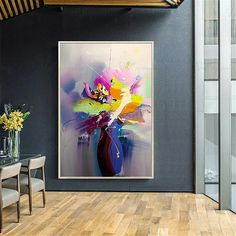 Original gold acrylic flowers abstract paintings on canvas wall art pictures for living room hallway wall decor thick texture quadros decor Abstract Canvas Wall Art, Oil Painting Abstract, Wall Canvas, Acrylic Flowers, Arte Floral, Wall Art Pictures, Oil Spill, Art Oil, House