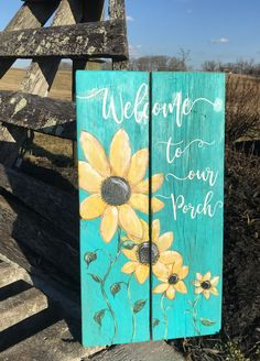 Wood Pallet Art, Pallet Painting, Painting On Wood, Wood Art, Pallet Frames, Country Porch Decor, Summer Porch Decor, Country Porches, Front Porch Signs