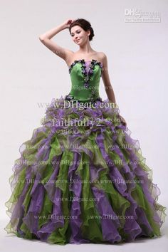 Not the dress, but the purple flowers and the green dress
