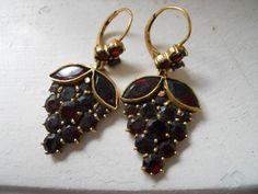 Old 14kt Gold Bohemian Garnet Earrings.