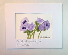 Blue Anemone Painting, Watercolor, Original, 5x7, Soft Greens and Blues and Purples, in 8x10 Mat, Frame Ready, NOT A PRINT