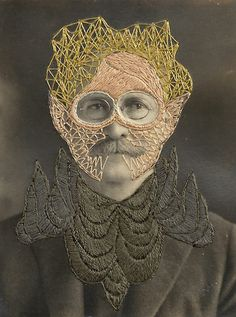 Contemporary embroidery art by Stacey Page, mixed media artist from Georgia, USA; embroidery over vintage picture! Stacey Page, Fotografia Retro, Sculpture Textile, Art Fil, Contemporary Embroidery, Thread Art, Mixed Media Artists, Textile Artists, Embroidery Art