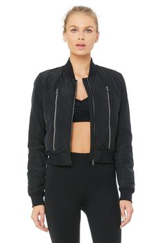 The Off Duty Bomber Jacket is a down-filled jacket with on-seam pockets that provide warmth where you need it. Throw it on before or after yoga class.