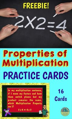 FREEBIE! 16 Cards to help your students practice and review the 4 Properties of Multiplication.  Use them as exit tickets, put them in a center or make a game out of them.  Come and download this free resource!