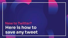 New to Twitter? Here is how to save any tweet Social Media Marketing Agency, Social Media Services, Social Media Content, Social Media Tips, Online Marketing, Content Marketing, Twitter For Business, Watch, Management