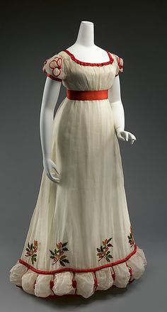 Dinner dress  Date:1824–26 Culture:British Medium:cotton, silk, wool Accession Number:2015.98a, b