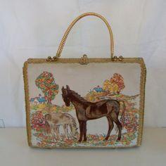 Vintage Midas of Miami wicker trapunto horse handbag or purse by trendybindi, $125.00 #fashion #designer #accessories