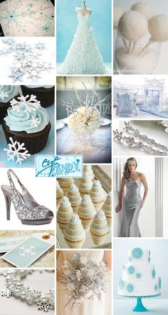 A Frozen Winter Wedding Inspiration Board on www.brendasweddingblog.com featuring a color palette of Ice Blue & Silver with Snowflakes