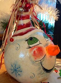 Snowman Gourd Light in fun Country Style by BarnsandVines on Etsy, $25.00