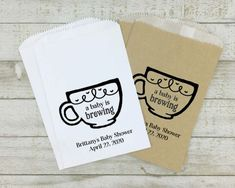 A Baby is Brewing coffee or tea gift bag for shower or party guests 20 stickers with optional bags Personalized Baby Shower Favors